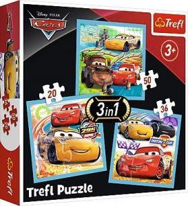 Puzzle   Trefl  3v1 - 20, 36 a 50 dílků  -  CARS 3 - připraveni k závodu  34848