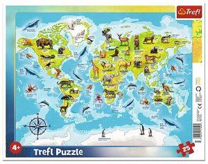 Trefl puzzle rámkové 25 dílků - mapa světa se zvířátky 31340