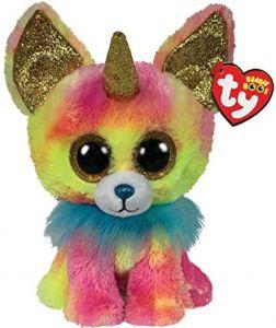 TY Beanie Boos - Yips  - duhová čivava s rohem a  límcem  36456  - 24 cm plyšák
