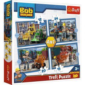 12, 15, 20 a 24  dílků -  4v1  Bořek Stavitel -  puzzle   Trefl 34350