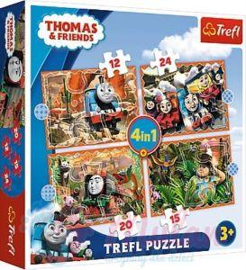12, 15, 20 a 24  dílků -  4v1  Mašinka Tomáš -  puzzle   Trefl 34354