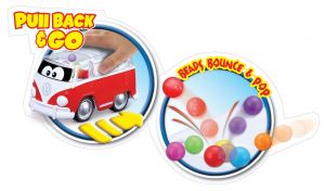 Bburago - autíčko VW Samba na pullback s míčky - červené