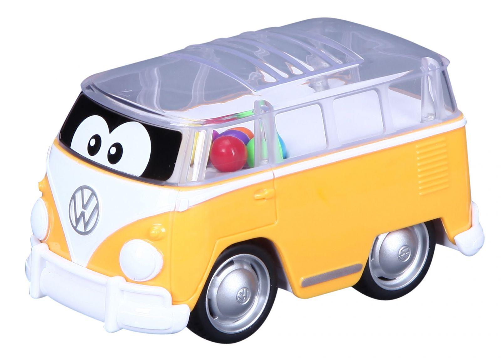 Bburago - autíčko VW Samba na pullback s míčky - žluté