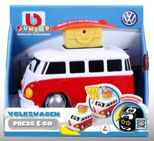 Bburago - autíčko VW Samba s pohyblivými smajlíky - červené