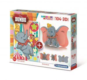 Clementoni puzzle 104 dílků + 3D figurka - Dumbo 20169
