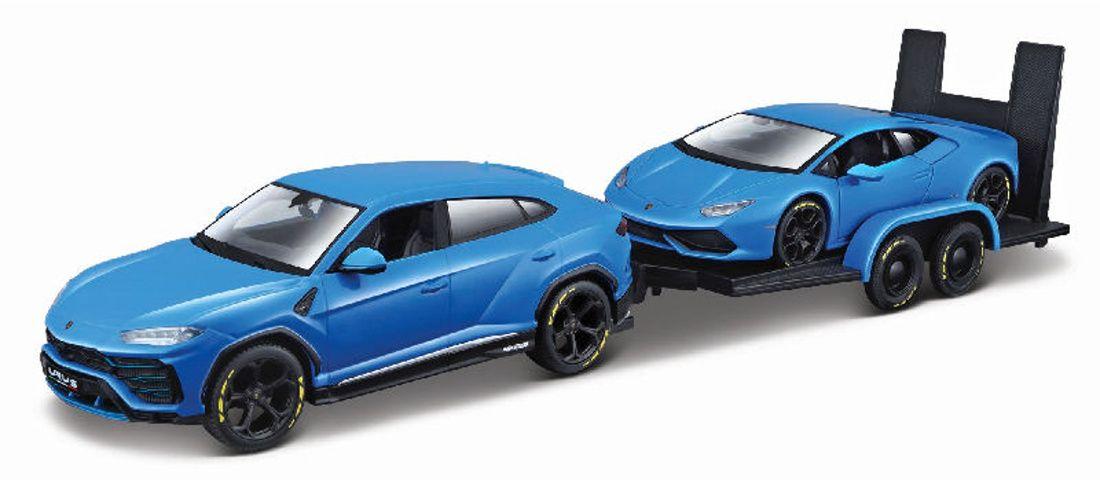 Maisto 1:24 Lamborghini Urus + Lamborghini Huracan na vleku - modrá barva