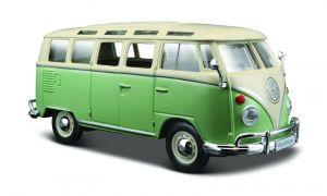 Maisto  1:25  Volkswagen Van Samba - zeleno - bílá  barva