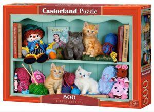 Puzzle Castorland 500 dílků - kočičky na poličce 53377
