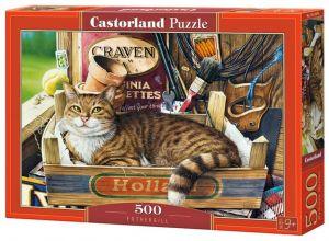 Puzzle Castorland 500 dílků - Kočka v bedničce 53476
