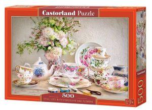 Puzzle Castorland 500 dílků -  Zátiší s porcelánem a květinami    53384