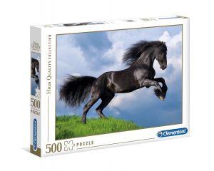 Puzzle Clementoni 500 dílků  - Černý kůň ve skoku 35071