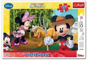 15 dílků Mickey a Minnie  Mouse - deskové puzzle Trefl
