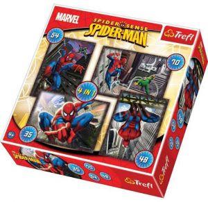 35, 48, 54 a 70  dílků -  4v1  Spiderman    -  puzzle   Trefl