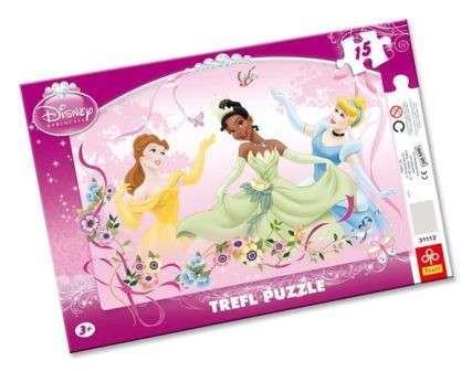 15 dílků Princezny - puzzle v rámečku ( rámkové ) puzzle Trefl 31112