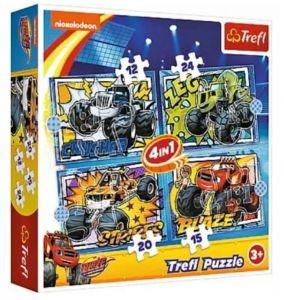 12 , 15 , 20 a 24  dílků -  4v1  Blaze  -  puzzle   Trefl 34349
