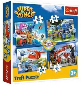 12 , 15 , 20 a 24  dílků -  4v1  Super Wings  -  puzzle   Trefl 34351