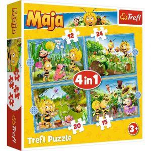 12, 15, 20 a 24  dílků -  4v1  Včelka Mája  -  puzzle   Trefl 34356