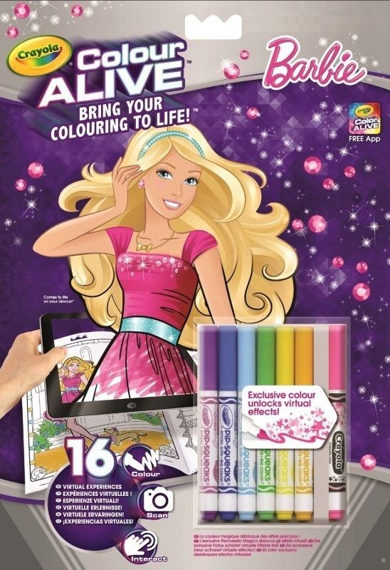 Crayola - colour active - omalovánky + fixy - Barbie Russell Company