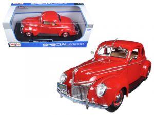 Maisto 1:18   1939 Ford DeLuxe Coupe - červená  barva