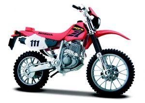 Maisto  motorka na stojánku - Honda XR400R 1:18 červená