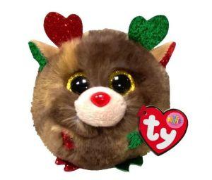 Plyšák TY - Puffies - plyšová zvířátka ve tvaru kuličky  - vánoční sob Fudge  10 cm  42517