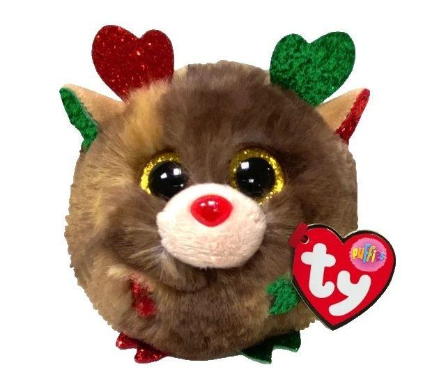 Plyšák TY - Puffies - plyšová zvířátka ve tvaru kuličky - vánoční sob Fudge 10 cm 42517 TY Inc. ( Meteor )