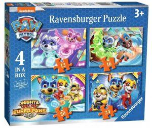 Puzzle Ravensburger  4v1 12, 16, 20 a 24  dílků  Psí tlapková patrola  030293