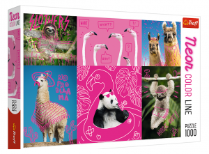 Puzzle Trefl  1000 dílků  - Neon Color Line - Šílená zvířátka  10594