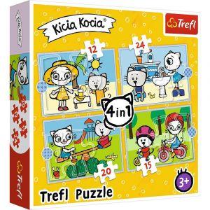 12, 15, 20 a 24  dílků -  4v1  Kicia Kocia - puzzle Trefl 34372