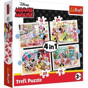 12, 15, 20 a 24  dílků -  4v1  Minnie a kamarádi  -  puzzle   Trefl 34355