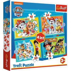 12, 15, 20 a 24  dílků -  4v1  Paw Patrol - Tlapková patrola - puzzle Trefl  34346