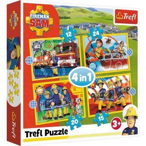 12, 15, 20 a 24  dílků -  4v1  Požárník  Sam - puzzle Trefl 34373