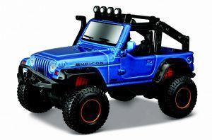 Auto Maisto - 4 x 4  Rebels - krabička - Jeep  Wrangler Rubicon - modrá barva