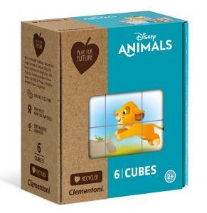 Clementoni - Obrázkové kostky ( kubus )  Play For Future  6 kostek -  Disney zvířátka