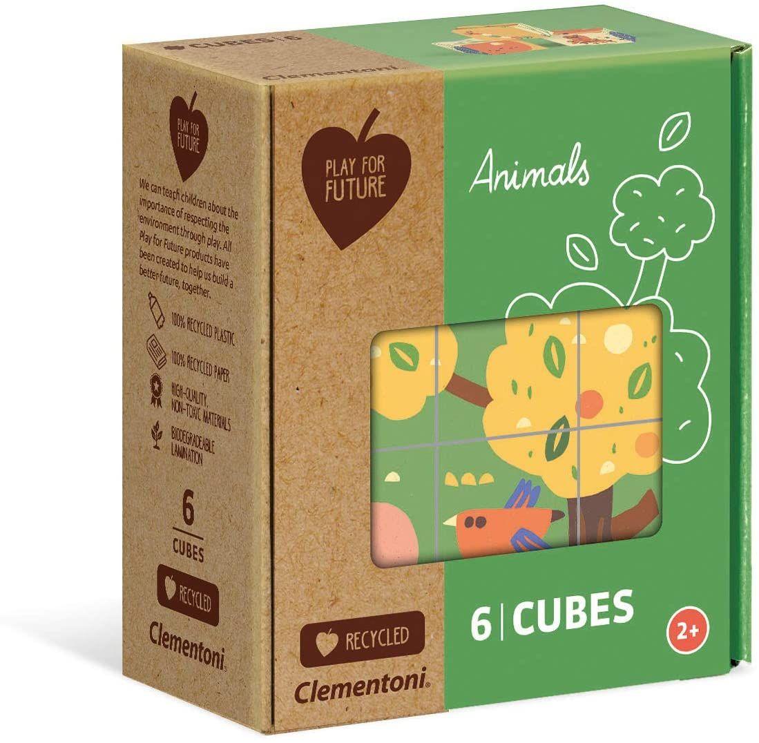 Clementoni - Obrázkové kostky ( kubus ) Play For Future 6 kostek - Zvířátka