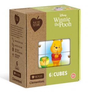 Clementoni - Obrázkové kostky ( kubus ) Play For Future 6 kostek - Medvídek Pů