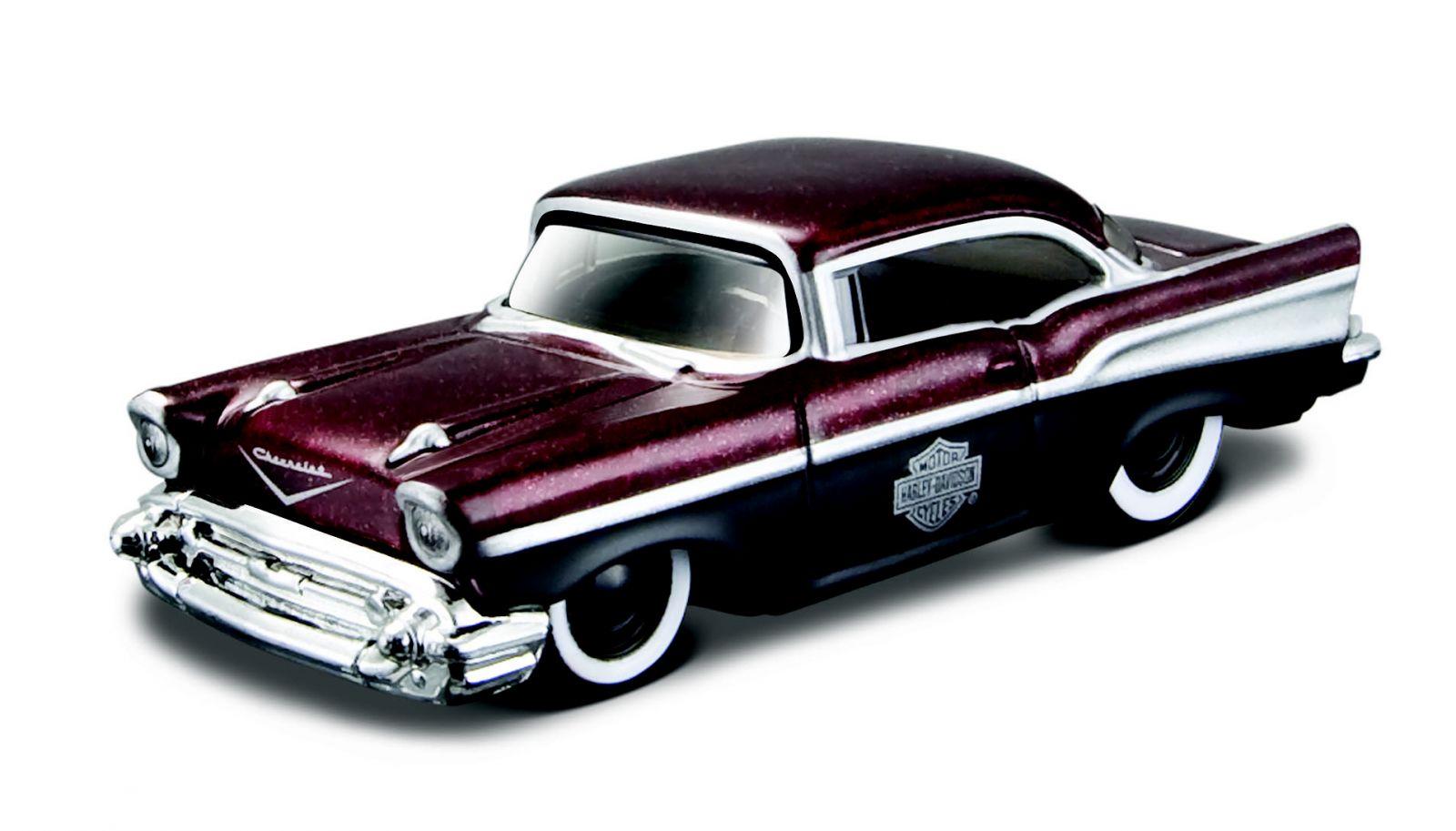Maisto 1:64 11380 HD - Chevrolet Bel Air 1957 - vínová barva