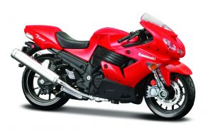 Maisto  motorka na stojánku - Kawasaki Ninja ZX-14R   1:18  červená