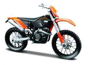 Maisto  motorka na stojánku - KTM 450 EXC   1:18 oranžová