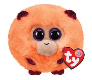 Plyšák TY - Puffies - plyšová zvířátka ve tvaru kuličky  - oranžová opička  Coconut 10 cm  42514