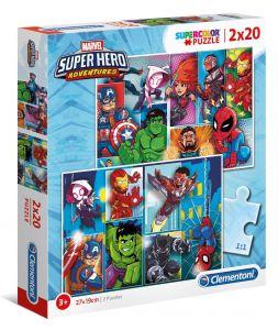 Puzzle Clementoni  2x20 dílků  -  Super Hero  24768