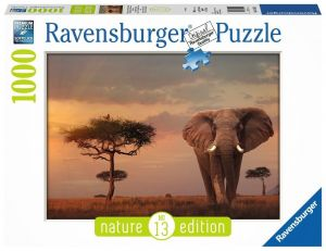 puzzle Ravensburger 1000 dílků -  Slon v národním parku  Masai Mara  151592