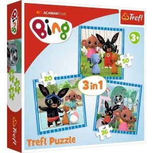 Puzzle   Trefl  3v1 - 20, 36 a 50 dílků  - Bing 34851