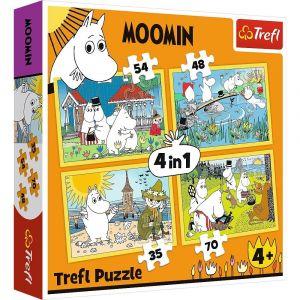 Trefl Puzzle 34368 - Veselý den Mumínků   4v1  35 48 54 70 dílků