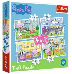 12, 15, 20 a 24  dílků -  4v1  Prasátko Peppa - vzpomínky z dovolené - puzzle Trefl  34359
