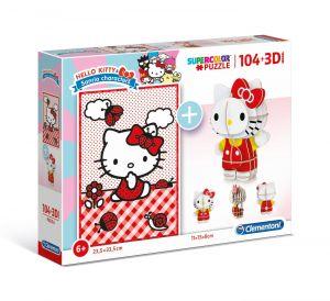 Clementoni puzzle 104 dílků + 3D figurka - Hello Kitty 20171