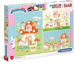 Dětské puzzle Clementoni  - 3 x 48 dílků  -  Hello Kitty  25246