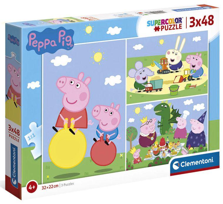 Dětské puzzle Clementoni - 3 x 48 dílků - Prasátko Peppa 25263