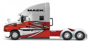 Maisto - tahač 1:64 - Mack  Anthem - bílo červená   barva