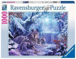 Puzzle Ravensburger 1000 dílků - Vlčí smečka v zimě  197040